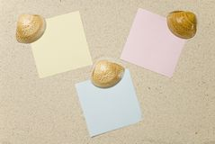 Notes with seashells on sand Royalty Free Stock Photos