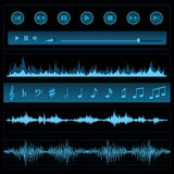 Notes and sound waves Royalty Free Stock Image
