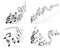 Notes staff. Vector musical notes staff background set for design use Royalty Free Stock Photos