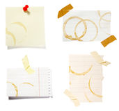 Notes with stains Royalty Free Stock Image