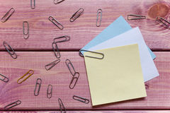 Notes, sticker, paper clips Royalty Free Stock Photos