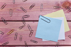 Notes, sticker, paper clips Stock Image