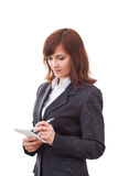 Notes supérieures d'écriture de femme d'affaires d'isolement en fonction Photo libre de droits