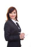 Notes supérieures d'écriture de femme d'affaires, souriant et Images stock