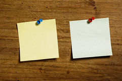 Notes with Tack. Note with Tack on wooden board Royalty Free Stock Image