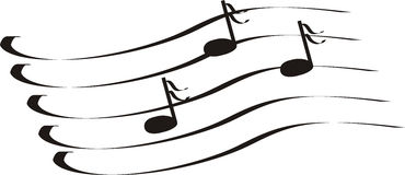 Notes a treble clef Stock Images