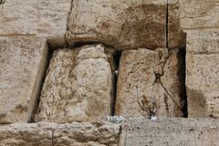 Notes in the Wailing Western Wall. Jerusalem Stock Images