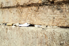 Notes in western wall. Letters to god in western wall jerusalem israel vector illustration