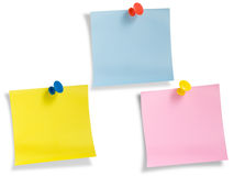 Notes With Thumbtacks, Path Provided. Royalty Free Stock Photo
