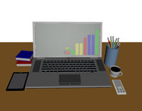 Notewook and desk of stock invester Royalty Free Stock Images