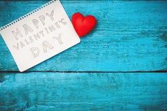 Notez la Saint-Valentin heureuse Photo stock