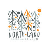 Noth land logo template original design, badge for nothern travel, sport, holiday, adventure colorful hand drawn vector Royalty Free Stock Photography