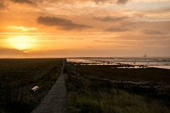 Noth Sea /German Ocean sunset at Friedrichtskoog Stock Image