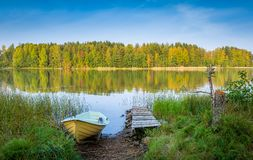 Nothern lake at autumn Stock Photos