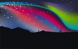 Nothern Lights, vector illustration pink red abstract stock image