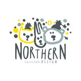 Nothern logo template original design, badge for nothern travel, sport, holiday, adventure colorful hand drawn vector Royalty Free Stock Photography