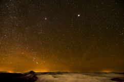 Nothern part of starry sky. Over Carpathian Mountains Stock Images