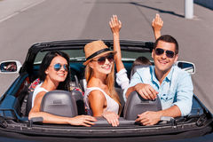 Nothing but friends and road trip. Stock Images