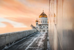 And nothing more. Christ the Savior Cathedral trapped in the marble of a bridge and a pink sunset sky Royalty Free Stock Photo