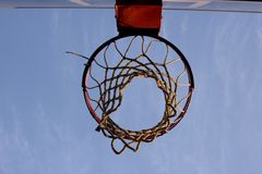 Nothing but net. Basketball hoop from directly under it royalty free stock photo