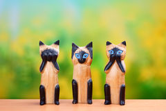 Nothing see, nothing hear, nothing talk cats figures Royalty Free Stock Images