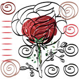 Nothing significant contour drawing rose card for congratulation Royalty Free Stock Images