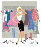 Nothing to dress2. Lady is looking something to dress in her wardrobe Vector Illustration