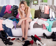 Nothing To Wear Concept, Young Woman Deciding What To Put On Stock Photography