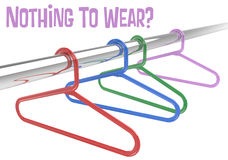 Nothing to wear Hangers empty clothes closet. Nothing to wear in empty closet Time to go clothes shopping at clothing store stock illustration