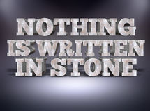 Nothing is written in stone concept message with studio background Royalty Free Stock Images