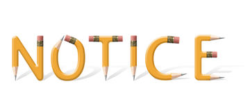 Notice. Yellow wooden pencils formed to spell Notice word over white background Royalty Free Stock Photo