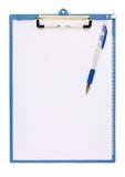 Notice board. And ball pen on white background Stock Photography