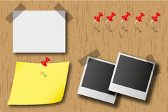 Notice board. The notice board is consist red pin, photo and sheet Stock Images