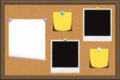 Notice board. Cork notice board with pinned items. Perfect for a backgound royalty free illustration
