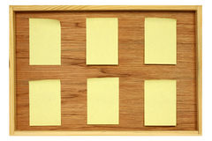 Notice board. With six blank stickies isolated in white Stock Photo