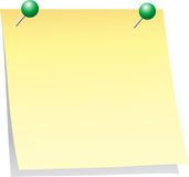 Notice board. Post it isolated detail with green pins Stock Photo