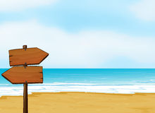 A notice board on a beach. Illustration of a notice board on a beach vector illustration