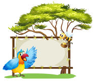 A notice board, a bird and a honey bee Stock Photo