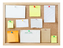 Notice Board with Blank Messages Stock Photography
