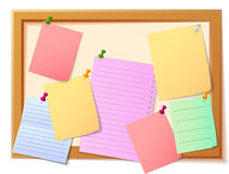 Notice board filled with various stationary items. Vector Illustration of Notice board filled with various stationary items Stock Photo
