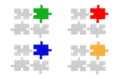 Notice board of four white gradient puzzle Royalty Free Stock Photography