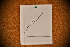 Notice board with graph sketch Royalty Free Stock Photography