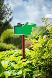 Notice board, green blank plate for text in the park on natural background Stock Photography