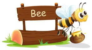 A notice board and a honey bee. Illustration of a notice board and a honey bee on a white background Stock Image