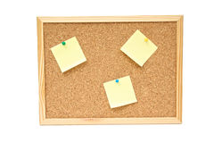 Notice Board isolated on white with sticky notes. Notice cork board with sticky notes royalty free stock photos