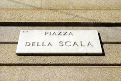 Notice board of piazza Scala Stock Photos