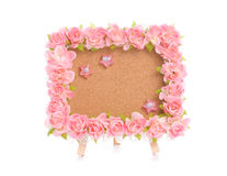 Notice board with pink flower Royalty Free Stock Images