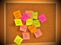 Notice board with sticky note pads Royalty Free Stock Photos
