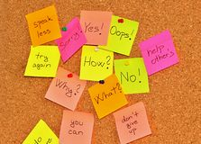 Notice board with sticky note pads Stock Image