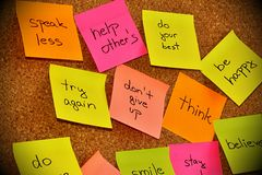 Notice board with sticky note pads Stock Images